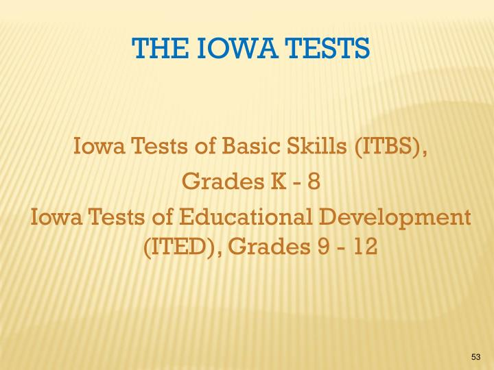 Iowa Tests of Basic Skills (ITBS),