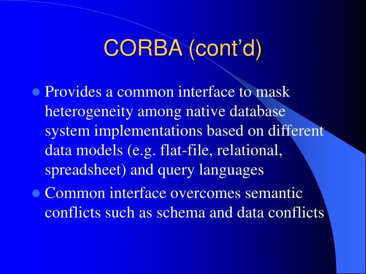 CORBA (cont'd)