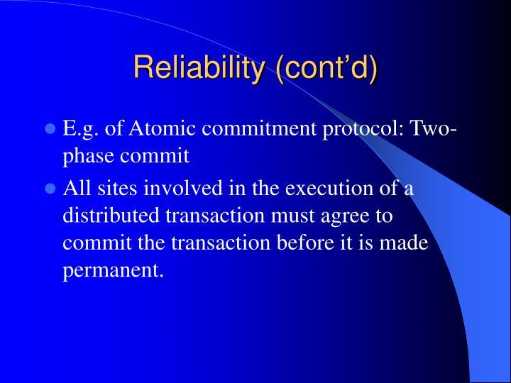 Reliability (cont'd)