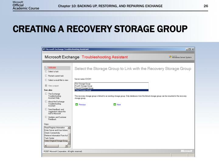 Chapter 10: BACKING UP, RESTORING, AND REPAIRING EXCHANGE