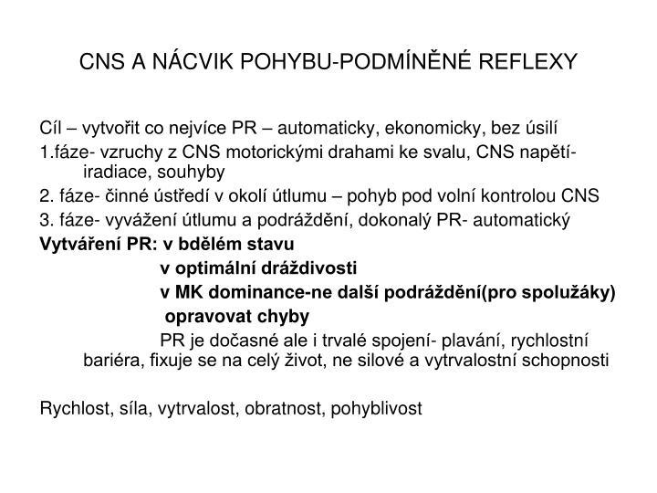 CNS A NÁCVIK POHYBU-PODMÍNĚNÉ REFLEXY