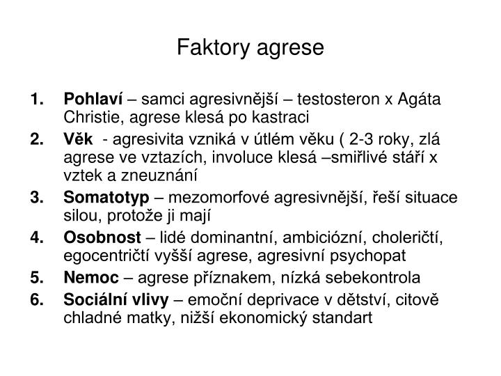 Faktory agrese