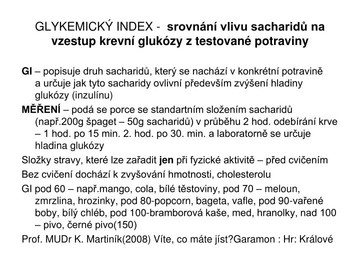 GLYKEMICKÝ INDEX -