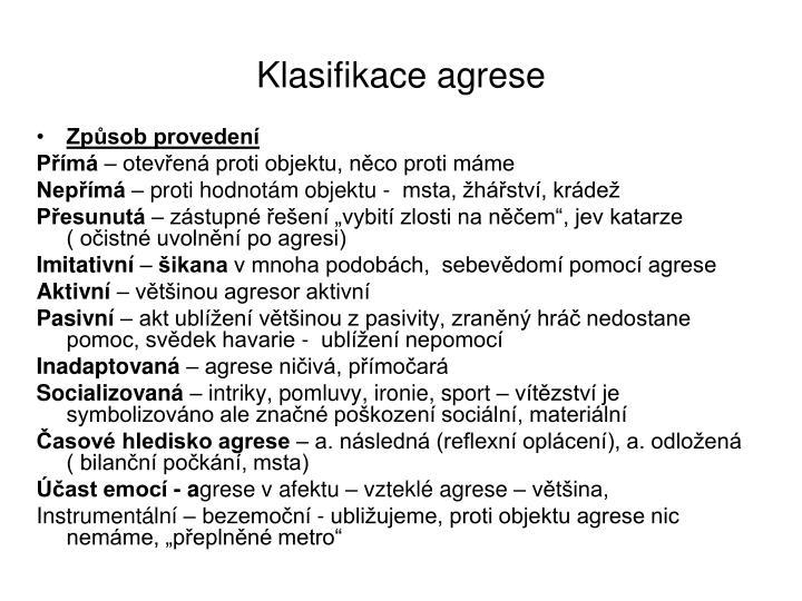 Klasifikace agrese