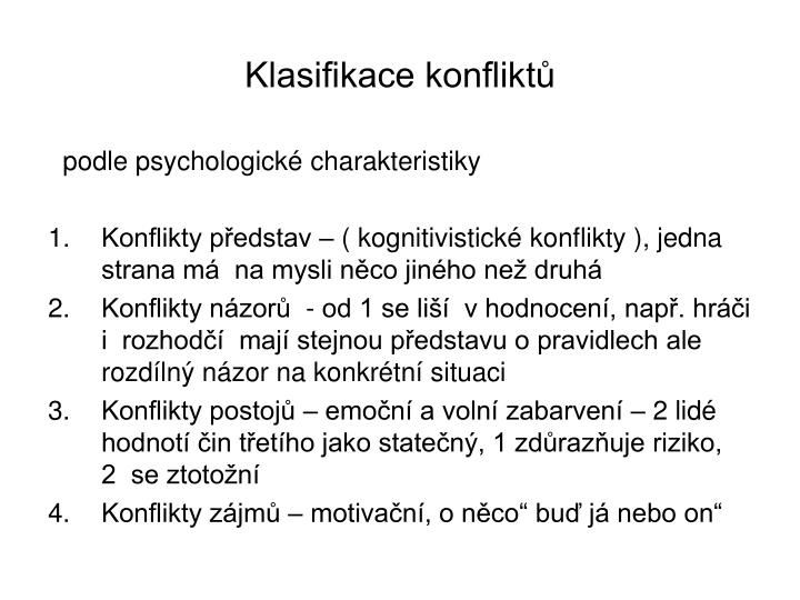 Klasifikace konfliktů