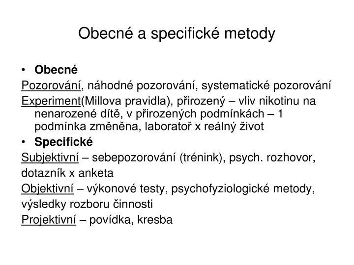 Obecné a specifické metody