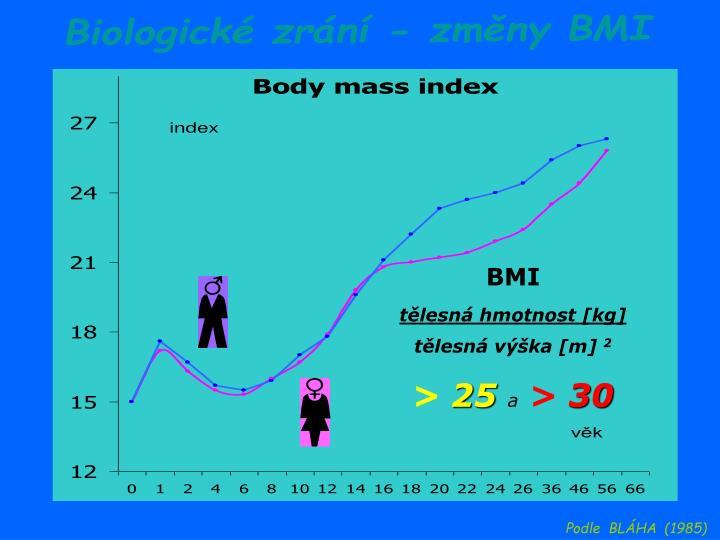 Biologické zrání - změny BMI