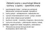 z kladn pojmy v psychologii t lesn v chovy a sportu specifick znaky