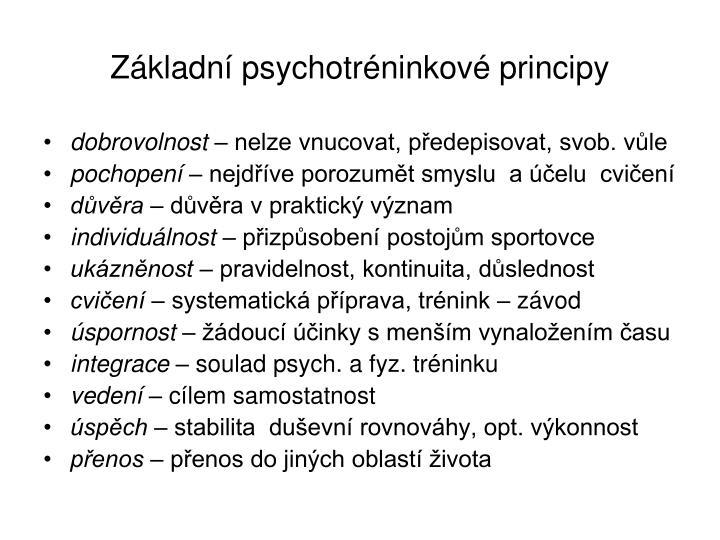 Základní psychotréninkové principy