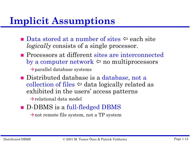 Implicit Assumptions