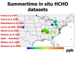 summertime in situ hcho datasets