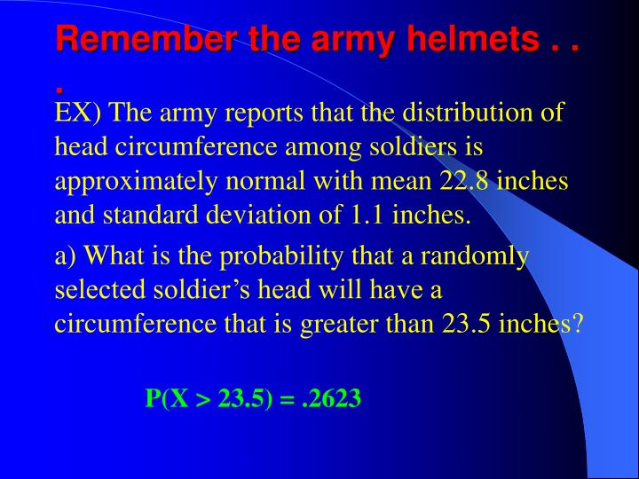 Remember the army helmets . . .