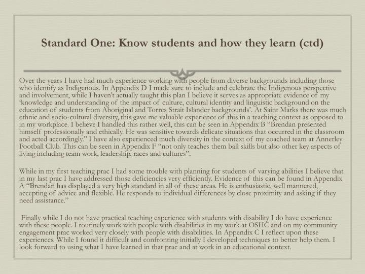 Standard One: Know students and how they learn