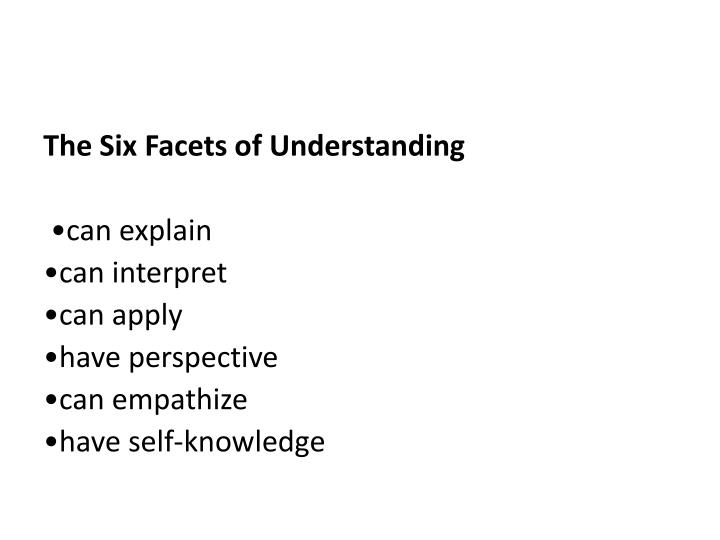 The Six Facets of Understanding