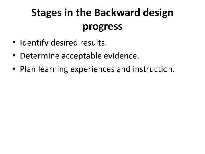 Stages in the Backward design