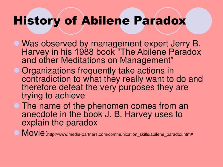 History of Abilene Paradox