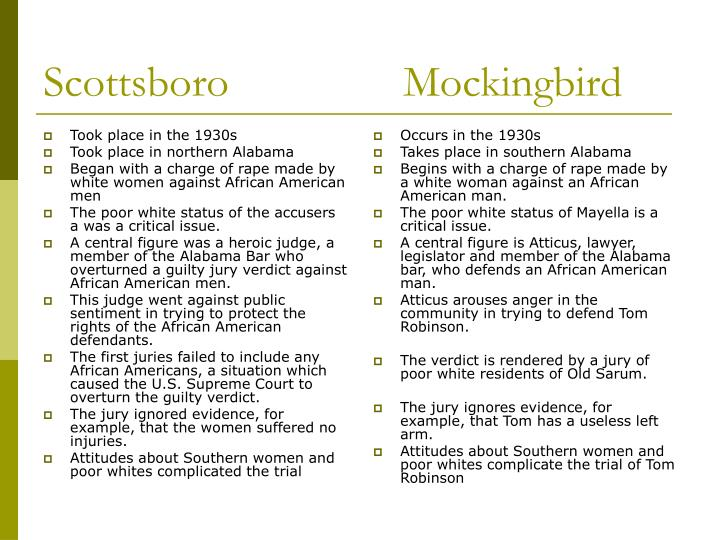 scottsboro trials and to kill a Best answer: both the scottsboro trial and to kill a mockingbird take place in the context of segregation during segregation, the worst crime a.