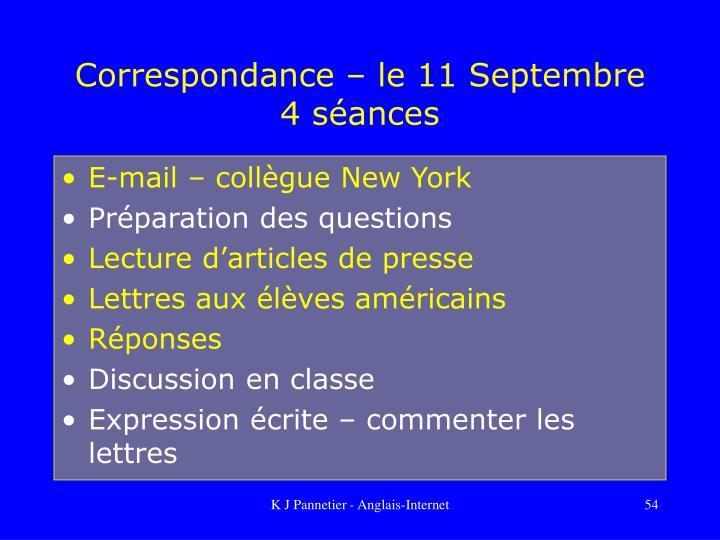 Correspondance – le 11 Septembre