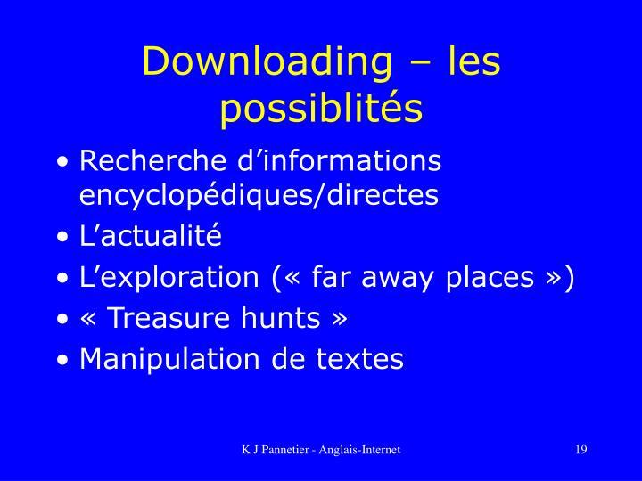 Downloading – les possiblités
