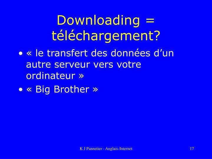 Downloading = téléchargement?