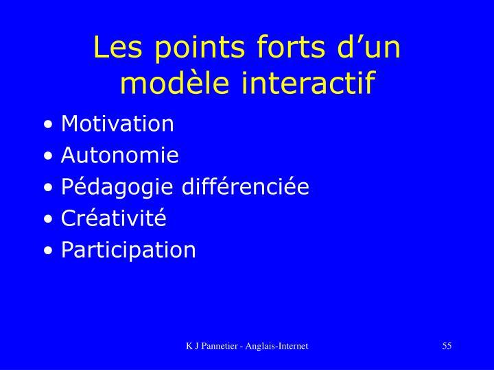 Les points forts d'un modèle interactif