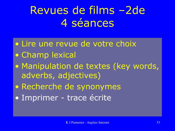 Revues de films –2de