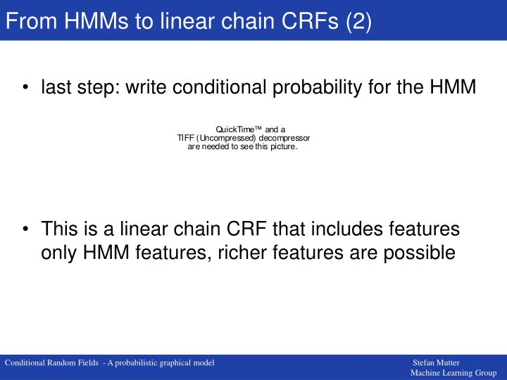 From HMMs to linear chain CRFs (2)