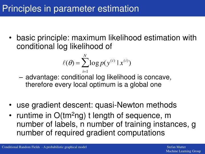 Principles in parameter estimation