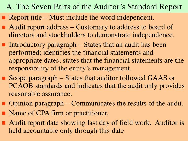 A. The Seven Parts of the Auditor's Standard Report