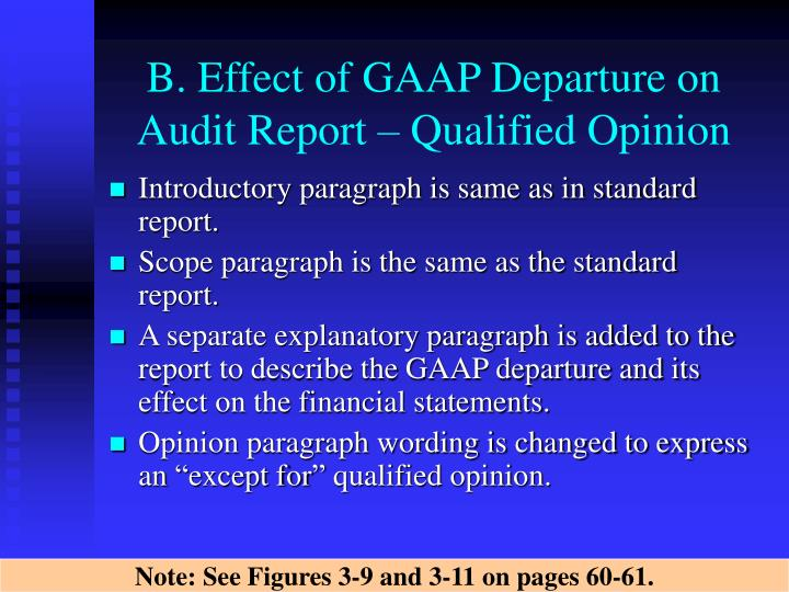 B. Effect of GAAP Departure on  Audit Report – Qualified Opinion