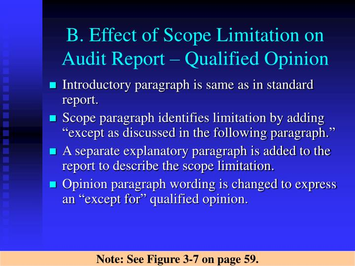 B. Effect of Scope Limitation on Audit Report – Qualified Opinion