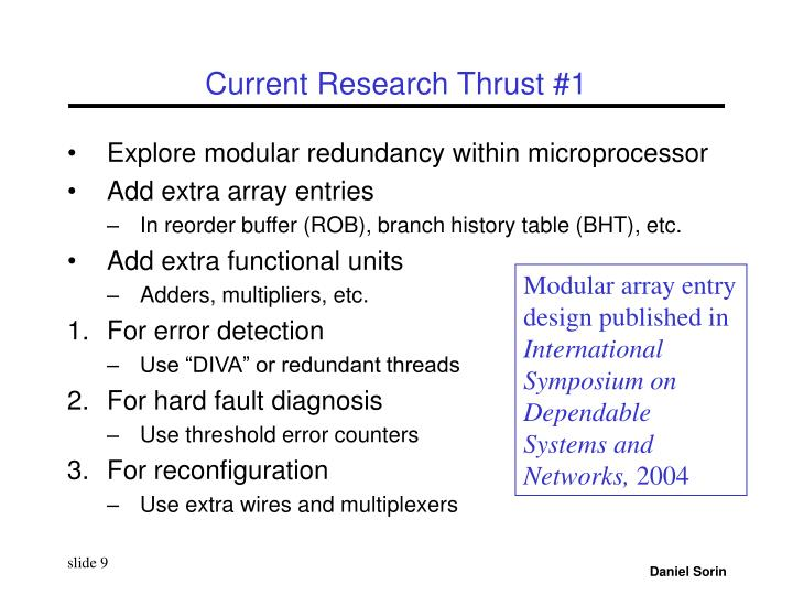 Current Research Thrust #1