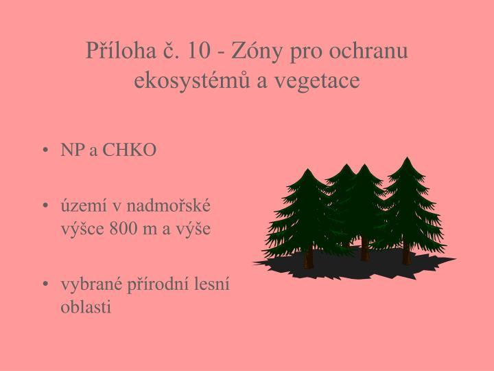 Příloha č. 10 - Zóny pro ochranu ekosystémů a vegetace