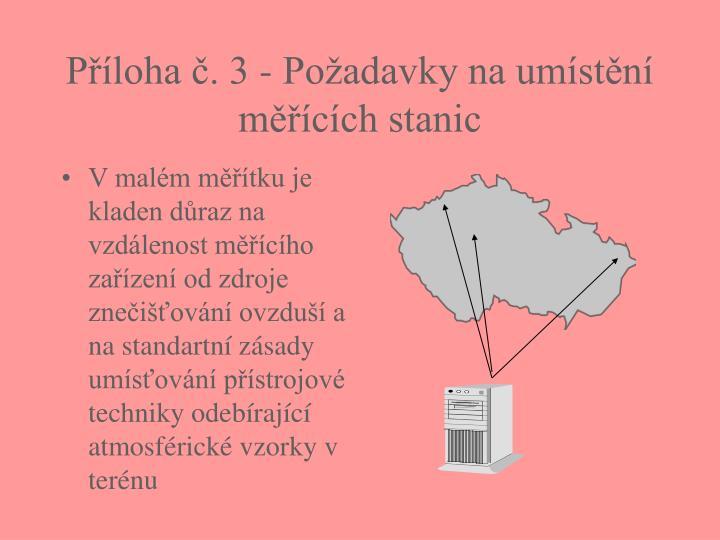 Příloha č. 3 - Požadavky na umístění měřících stanic