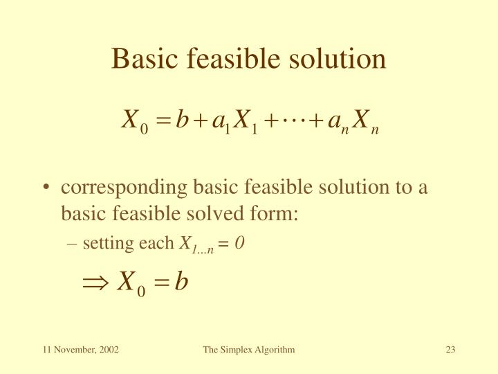 Basic feasible solution