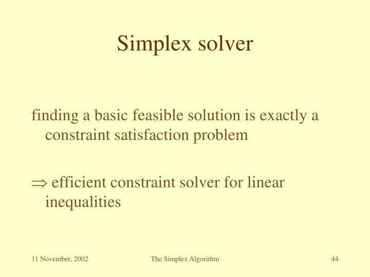 Simplex solver
