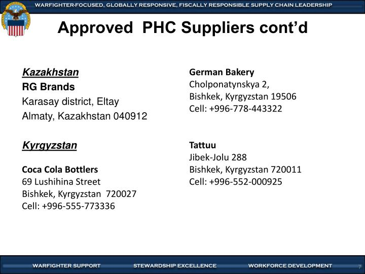 Approved  PHC Suppliers cont'd