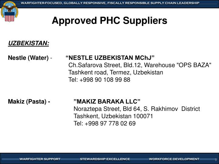 Approved PHC Suppliers