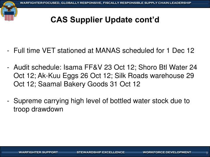 CAS Supplier Update cont'd