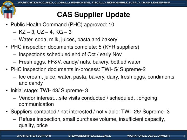 CAS Supplier Update