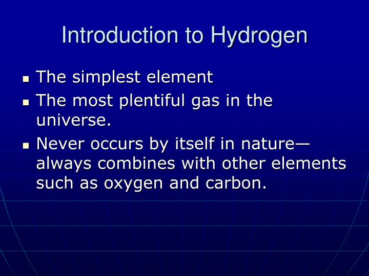 Introduction to hydrogen