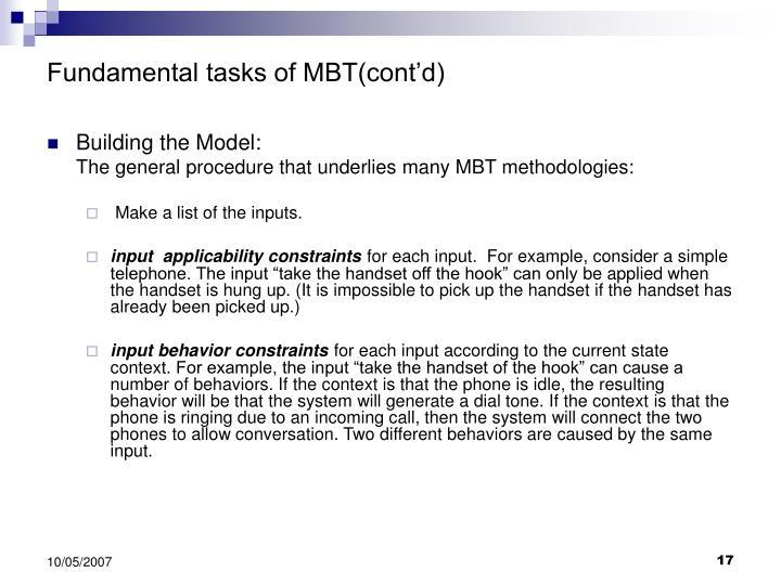 Fundamental tasks of MBT(cont'd)