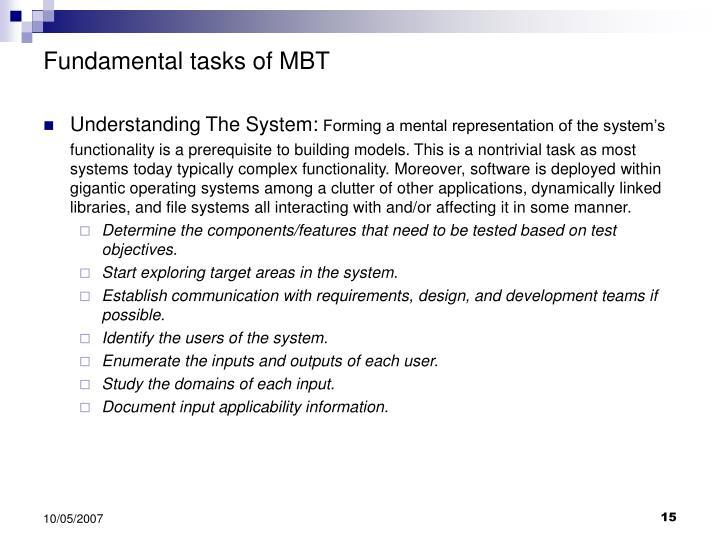 Fundamental tasks of MBT