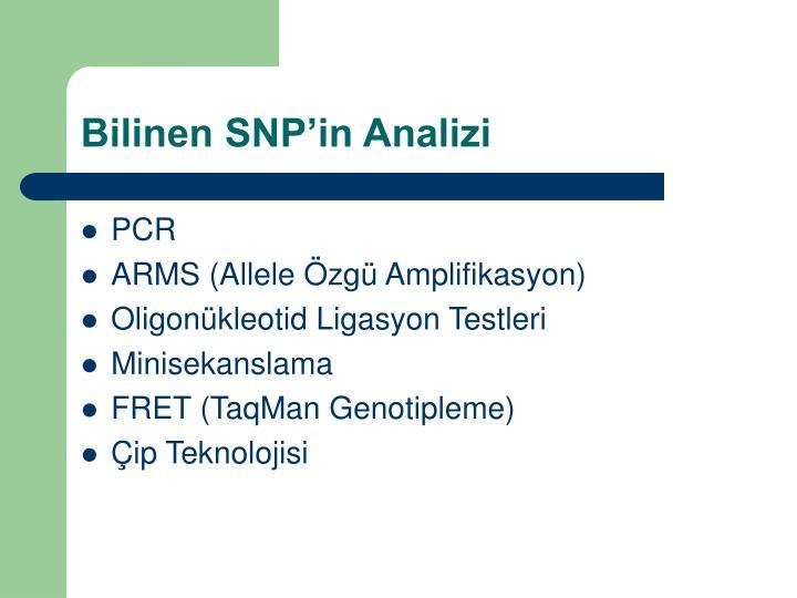 Bilinen SNPin Analizi