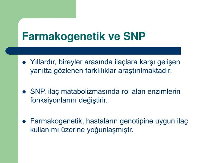 Farmakogenetik ve SNP