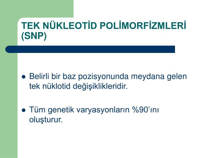 TEK NKLEOTD POLMORFZMLER (SNP)
