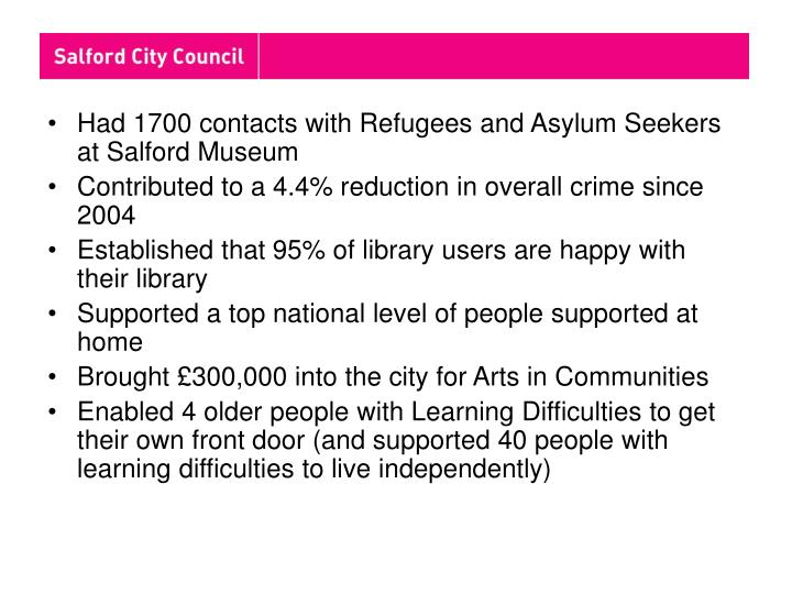 Had 1700 contacts with Refugees and Asylum Seekers at Salford Museum