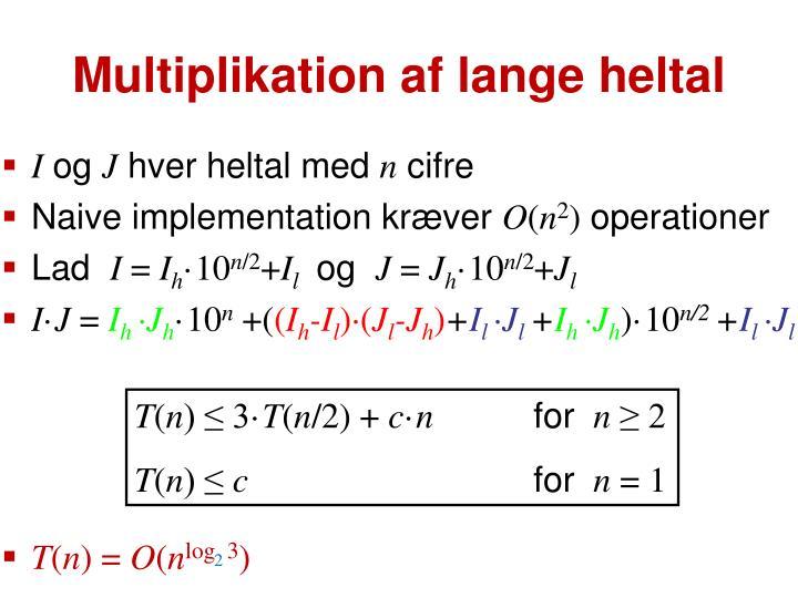Multiplikation af lange heltal