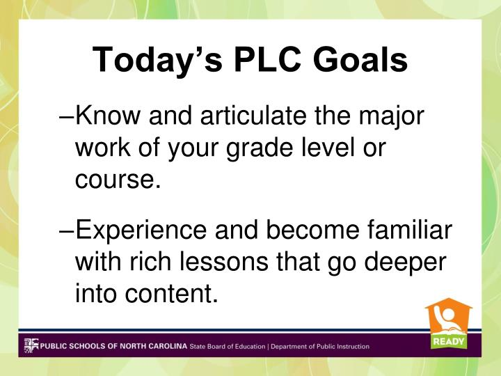 Today's PLC Goals