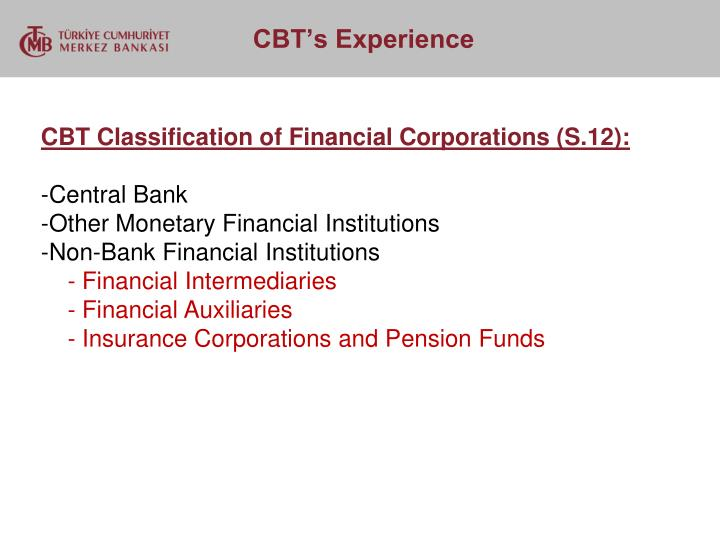 CBT Classification of Financial Corporations (S.12):